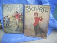 4 vintage adverts bought from a closing down pub over 10 years ago 24 inch by 17 inch