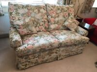 2 seater sofa with matching footstool, floral design