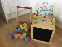 Wooden play bead cube and ELC wooden walker