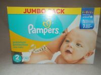 box of unopened pampers size 2 nappies