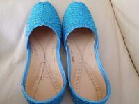 Children Kids Indian Asian Pakistani Wedding Shoes Slip-On Sapphire Size 6 Flat