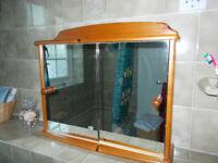 Varnished pine bathroom cabinet