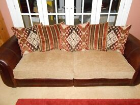 DFS 4 seat sofa, matching armchair, coordinating armchair and storage footstool