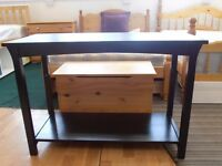 £20 Solid pine wood, dark finished, nero style, side table, some minor cosmetic wear