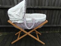 MAMAS & PAPAS MOSES BASKET & STAND WITH HOOD & LIBERTY COVER note the handles are fraying see photo