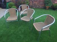 4 Aluminium and PE Wicker Garden Chairs