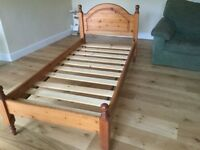 Pine single bed with 2 under bed drawers