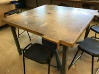School work benches and wood vices