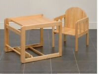 Wooden high chair , coverts into table and chair