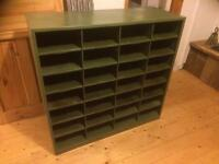 1940's retro vintage pigeon hole postal army sorting rack, collectable, bespoke industrial piece