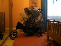 Phil & Ted buggy with rear seat and rain cover double buggy