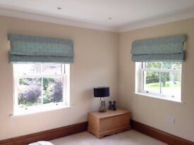 2 x Duck Egg Faux Silk Roman Blinds