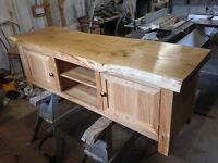 solid oak TV unit Storage bench long coffee table