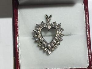 #103 WOW VS1 DIAMONDS! 14K WHITE GOLD DIAMOND HEART PENDANT. YOURS FOR ONLY $1850!