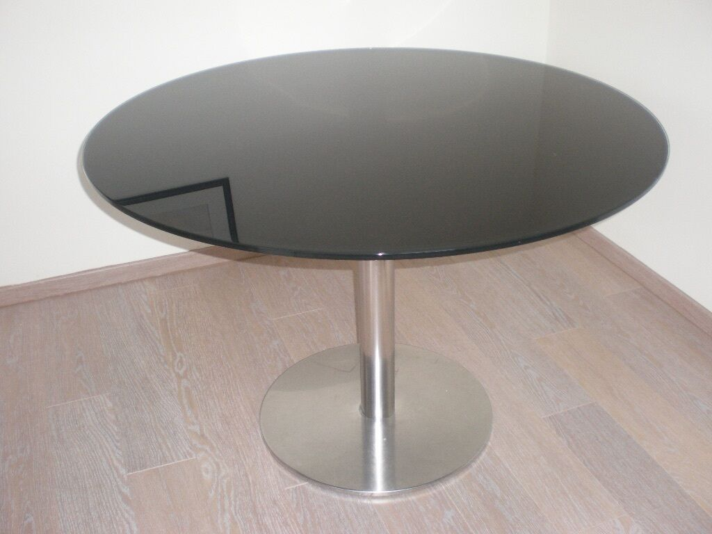 Habitat black glass round dining table in beverley east for Black round dining table