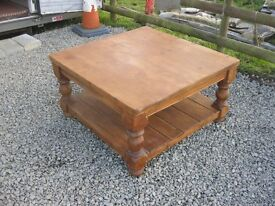 VERY LARGE SOLID PINE ORNATE COFFEE TABLE WITH LOWER SHELF.IDEAL AS IS OR PAINTED.VIEW/DELIVERY POSS