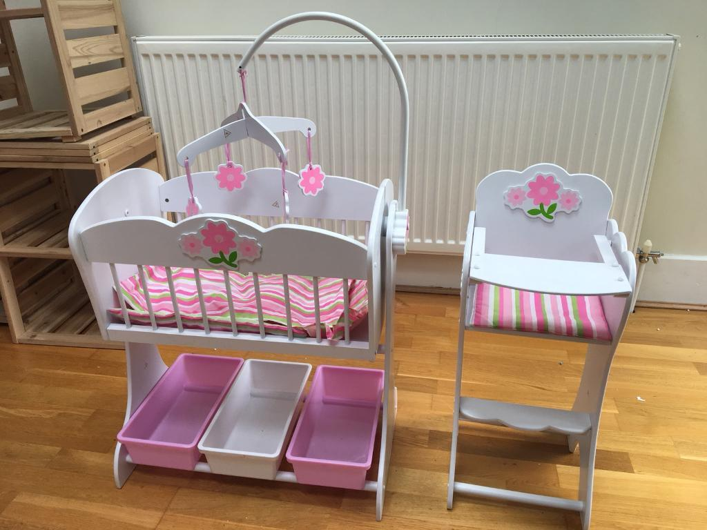 Girls Doll Wooden Cradle And High Chair Kidkraft