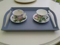 Wooden serving tray in grey