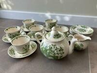 Vintage Masons green fruit basket tea set