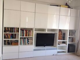 Ikea wall storage unit in white high gloss finish