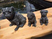 Pugs Pug Dog Outdoor Indoor Garden Stone Concrete Cast Statue Ornaments