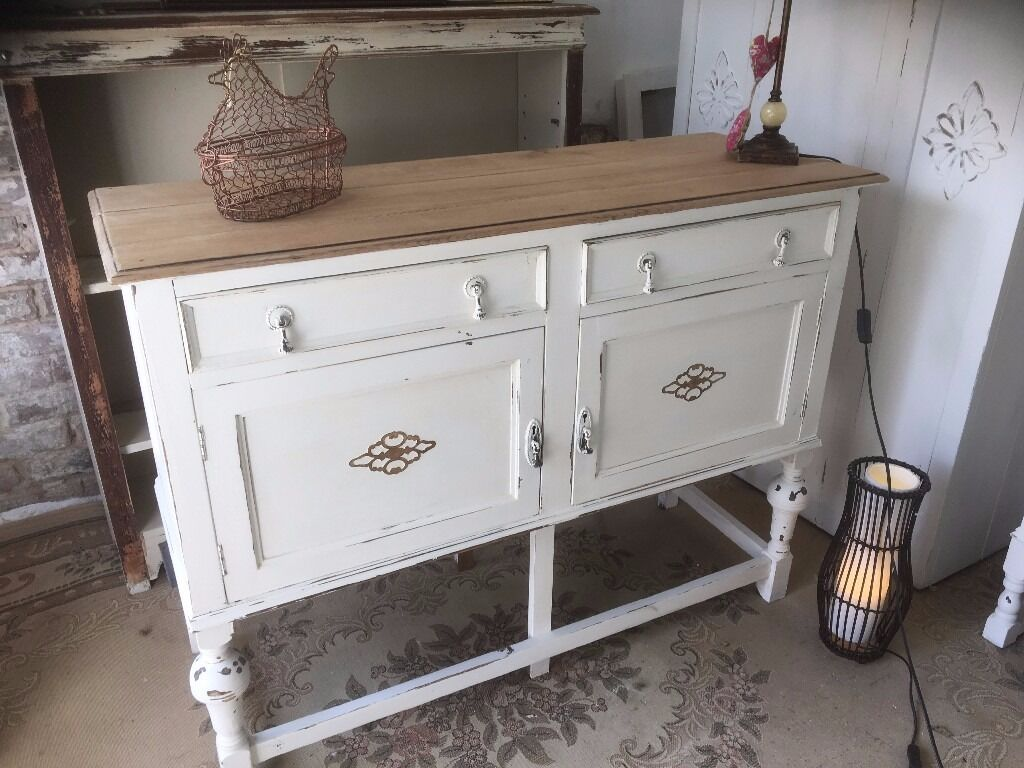 Vintage Oak Sideboard Dresser Cupboardin Bournemouth, DorsetGumtree - Oak Sideboard Vintage Stripped and Waxed base Chalk Painted dimensions are 122 cm length 90 cm height and 46 cm depth gorgeous Solid stripped Oak top and Waxed