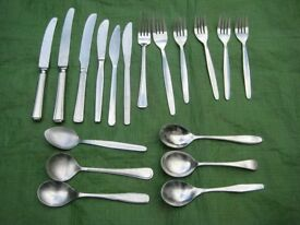 6 Table Cutlery Settings (18 items) of Varying Design for £6.00