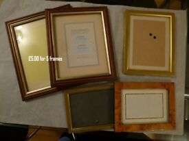 5 x Assorted photo frames