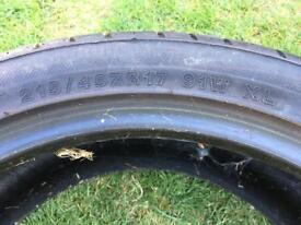 215/45/17 tyre 6mm tread