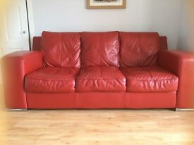 Leather Sofa - Red - 3 seater