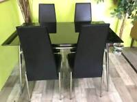Black Glass Table With 4 Chairs - Can Deliver For £19