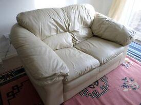 Cream Leather 2 Seater Sofa Very Comfortable