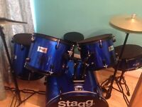 Drum set with full set of drum silencers