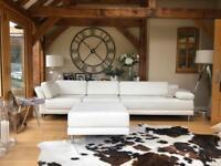 Habitat white leather Scala 4 piece sofa arrangement