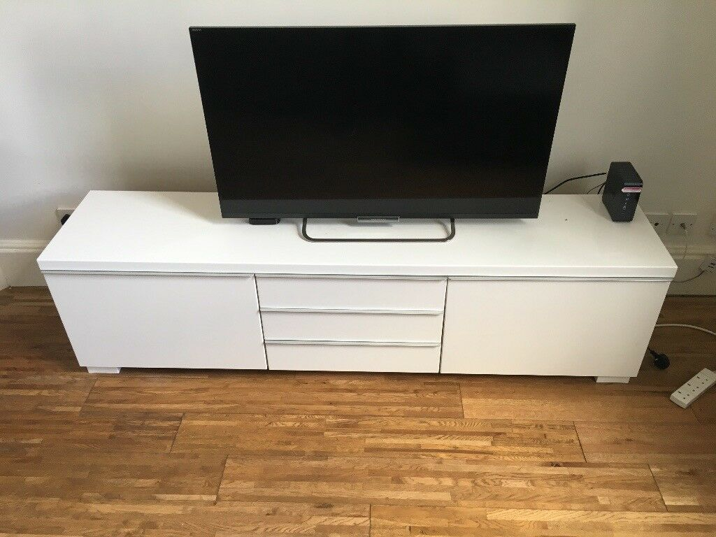 White Ikea TV Cabinet  With Storage (Ikea name: BESTÅ BURS) | in  Southampton, Hampshire | Gumtree