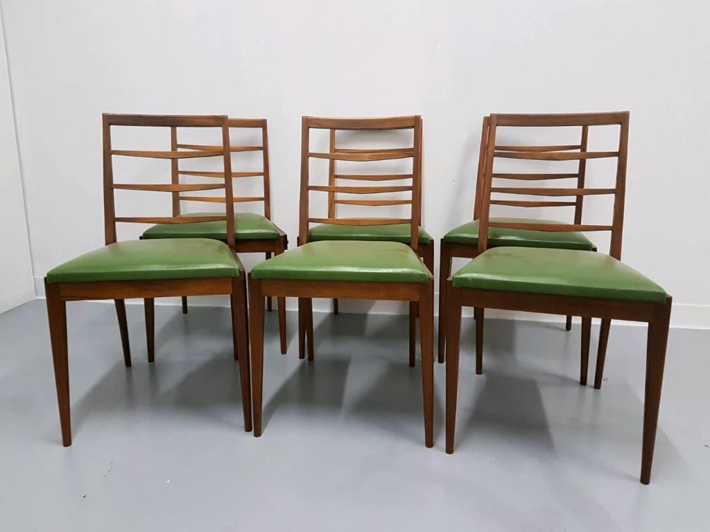 Great set of Mcintosh dining chairs original green vinyl Danish style 60s x 6
