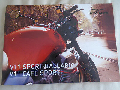 Moto Guzzi V11 Sport Ballabio & Cafe Sport Motorcycle brochure c1990's English