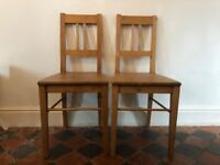 Two Antique Wooden Chairs Pair