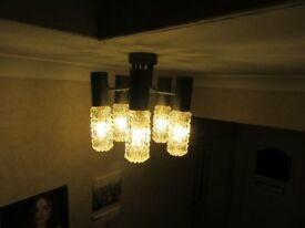 2 x Vintage 5 arm chandeliers/ceiling lights with 5 heavy ornate glass shades