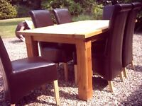 Dining Table Solid Oak and 6 Real Leather chairs