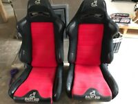 Raceland reclining bucket seats red and black