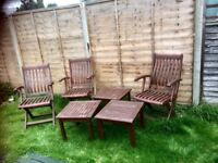 Hardwood garden chairs and tables