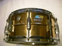 "Ludwig LB552 seamless polished bronze snare drum 14 x 6 1/2"" - Chicago - '79-'82 - Blue & Olive"