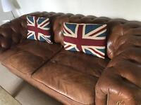 Brown chesterfield 3 seater sofa