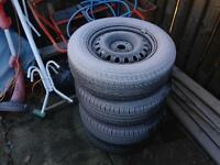 """4x100 14"""" Steel Wheels with tyres 185/70/14"""