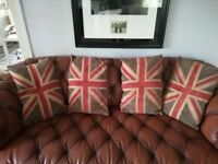 4 x Luxury Union Jack DFS Feather Filled Cushions