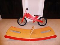 Wooden Balance Bike & Rocking Stand - Excellent Condition