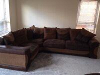 Beautiful brown cloth halo corner sofa and swivel chair