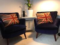 2 x Vintage Blue Velvet Chairs - Virtually New