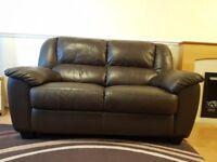 Real Leather Chocolate Brown Sofa Set (3+2 Seater and Recliner Armchair); £350 / ONO.